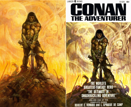 Figure-5-–-Frazetta_s-original-left-Lancer-cover-right-CENTER